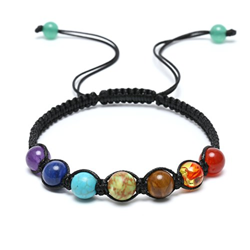Aobei 7 Chakra Healing Bracelet with Synthetic Stones Volcanic Lava Mala Meditation Wrap Jewelry Adjustable (Turquoise Lapis Bracelet)