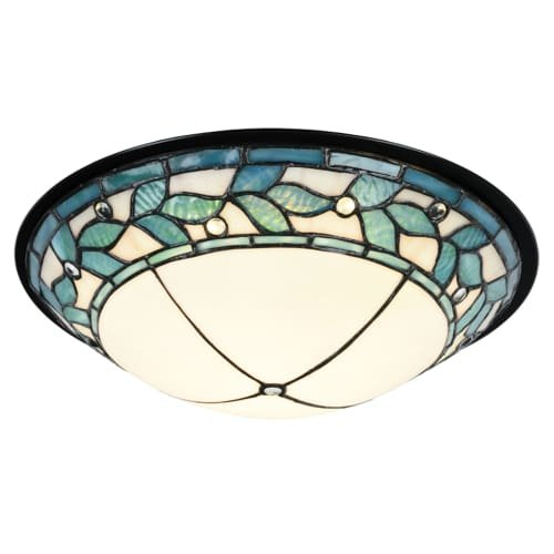 Flush Mount Bronze Green (Dale Tiffany TH15477LED Green Leaves Single Light 15