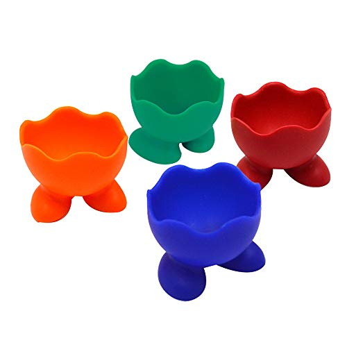 YAOSEN 4pcs Silica Gel Egg Cup Holder Egg Serving Cup for Hard and Soft Boiled Egg