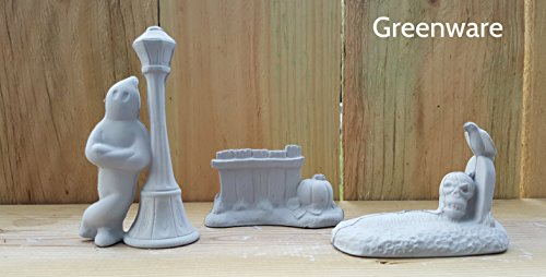 3 Part Halloween Grave Fence Light Post unpainted ceramic bisque ready to be painted