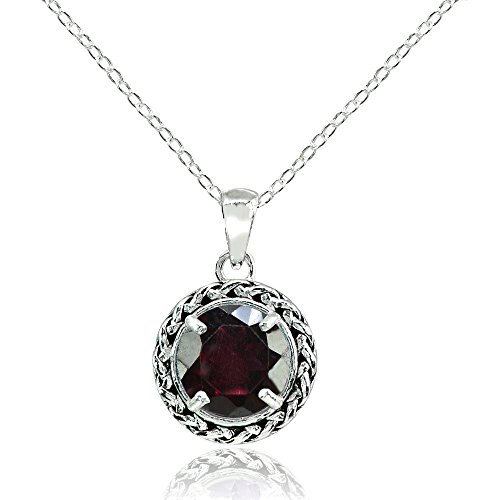 Ice Gems Sterling Silver Garnet Round Oxidized Rope Pendant Necklace ()