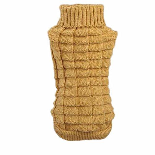 DZT1968(TM)Winter Dog Pet Clothes Woolen Sweater Knitwear Puppy Clothing Hemp Flowers High Collar Coat (Khaki, XL) For Sale