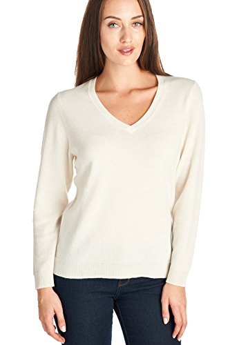 Mariyaab Women's 100% Cashmere Soft Long Sleeve V-Neck Sweater (1301, Cream, M)