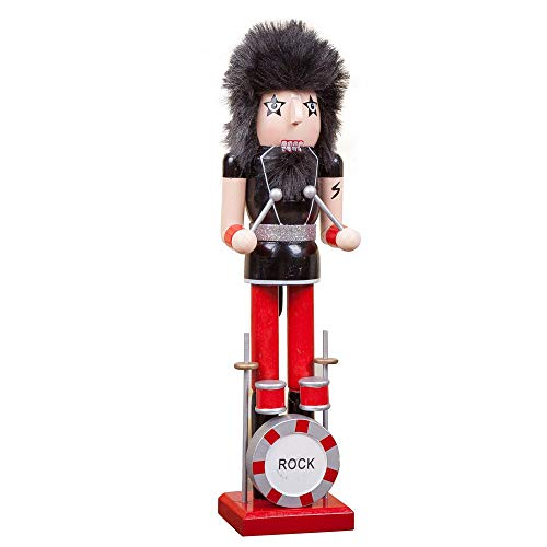 Leegoal Traditional Wooden Drummer Nutcracker On Stand, 15Inch Classic Collectible Nutcracker Festive Decor for Christmas Tree Ornaments Home Party Decoration