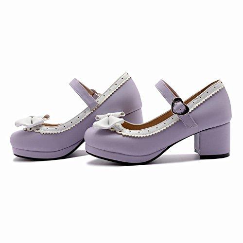 YE Damen Ankle Strap Rockabilly Pumps Blockabsatz Plateau High Heels Geschlossen mit Schnalle und Schleife Elegant Schuhe Lila