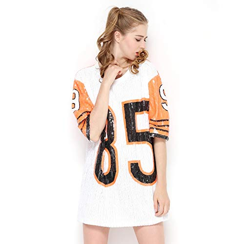 IMAGICSUN Boat Neck Shimmer Sequin Short T Shirt - Oversize Tops for Teen ()