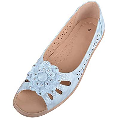 Absolute Footwear Womens Slip On Summer/Holiday Peep Toe Sandals/Shoes with Floral Design - Blue - US 5