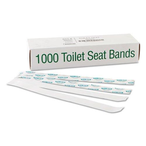 Seat 16in Blue (Bagcraft Papercon Sani/Shield Printed Toilet Seat Band, Paper, Blue/White, 16