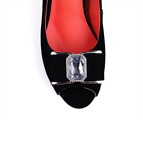 4 Womens 5 Heel and UK VogueZone009 Black Sandals Frosted Open Chunky Heels High Peep Bowknot with Metal Toe Solid aXwqBTd