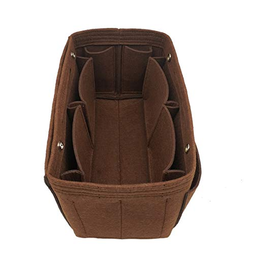 LEXSION Felt Fabric Purse Handbag Organizer Bag - MultiPocket Insert Bag 8008 Brown XL