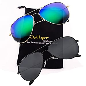Aviator Sunglasses for Men Vintage Mirrored Lenses UV400 Protection Black Blue Shades 2 Pack