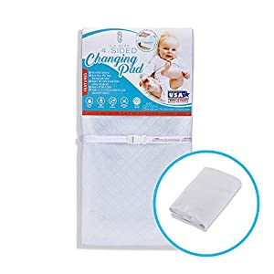 [Combo Pack]LA Baby Waterproof 4 Sided Changing Pad 30″ & White Terry Cover – Made in USA. Easy to Clean, Non-Skid Bottom, Safety Strap, Fits All Standard Changing Tables for Best Diaper Change