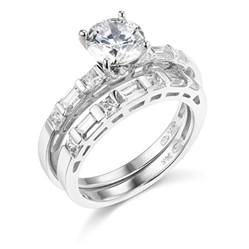 TWJC 14k White Gold SOLID Engagement Ring and Wedding Band 2 Piece Set - Size 4
