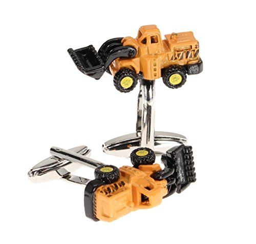 For Work Simple Cat Costume (Mens 3D Novelty Cuff Links Yellow Bucket Tractor Gift)