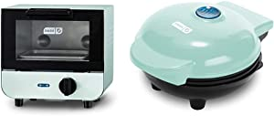 Dash DMTO100GBAQ04 Mini Toaster Oven Cooker for Bread, Bagels, Aqua & Mini Maker Portable Grill Machine + Panini Press for Gourmet Burgers, Sandwiches, Chicken + Other On the Go Breakfast, Aqua