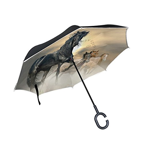 Horse Pattern Print Inverted Umbrella Double Layer Windproof, Waterproof Auto Open Reverse Folding Upside Down Car Umbrellas with C Shape Handle - Free Nursing Pillow Pattern