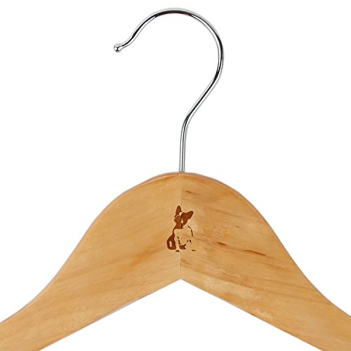 French Bulldog Maple Clothes Hangers - Wooden Suit Hanger - Laser Engraved Design - Wooden Hangers For Dresses, Wedding Gowns, Suits, And Other Special Garments