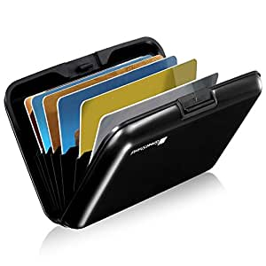 GreatShield RFID Blocking Wallet [8 Slots | Aluminum] Portable Travel Identity ID/Credit Card Safe Protection Card Holder Hard Case for Men and Women (Black)