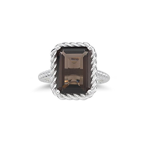 5.78 Cts of 14x10 mm AA Emerald Smokey Quartz Solitaire Ring in 14K White Gold-7.5 ()