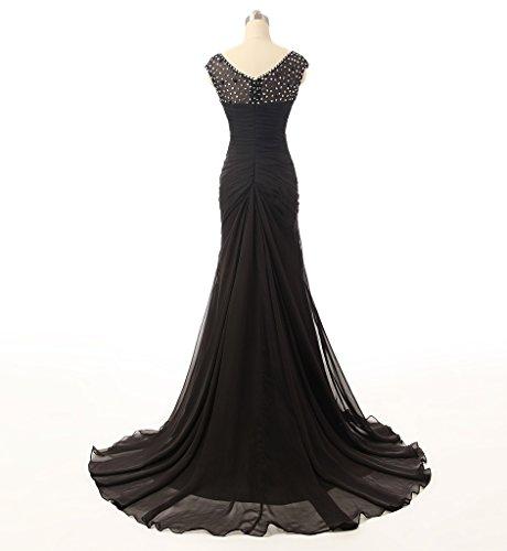 Ysmo de la mujer Cap Sleeve beadings Prom vestidos 2016gasa plisado noche fiesta negro negro 46