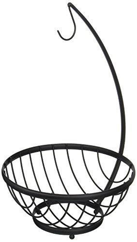 Spectrum Diversified Ashley Fruit Bowl with Banana Holder, Small, Black (Bowl Fruit And Tree Banana)