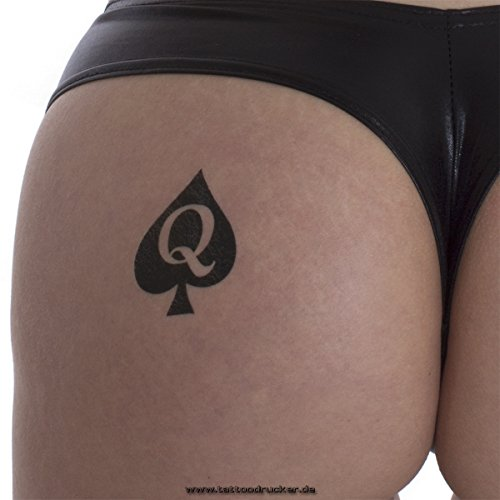 10 x Reine de pique Logo Tattoo - Tatouage Hotwife . Queen of Spades Tattoo (10)