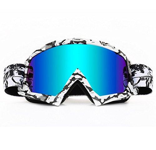 Ski Goggles, Wonzone Snow Skiing Snowboarding Motocross Anti-Fog Goggles Dustproof Scratch-Resistant Bendable Unisex Eyewear Goggles (Black&White)