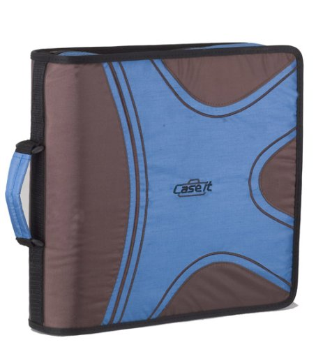 UPC 022293104142, Case-it Large Capacity Brown and Periwinkle Zipper Binder (D-145)