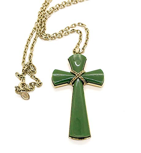 Jade Cross Avon - Avon Cross Green Juliet Pendant Necklace - Approx. Pendant 2 3/4