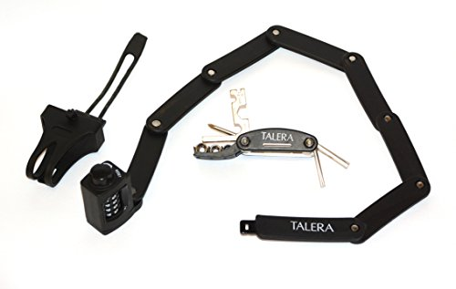 "Cheap EasyLocker Folding Bike Lock – Heavy Duty Combination Lock, Sturdy Mounting Holster – 31.5"" High Density Steel Cut Proof Lock with 8 Joints + Bicycle Multitool – Must-Have Biking Accessories by Talera"