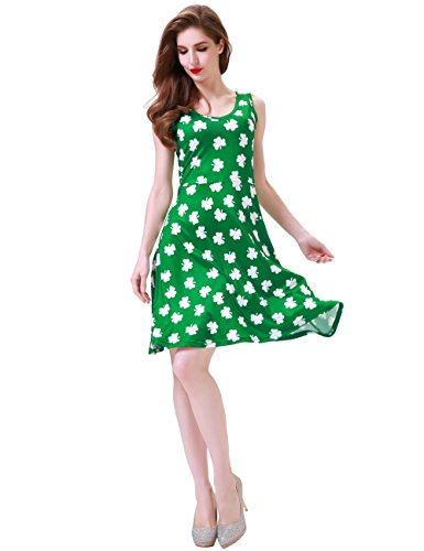 Melynnco Women's Shamrocks Print Sleeveless Casual Dress for St. Patrick's Day Small Green -