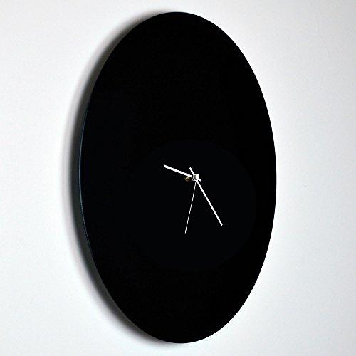Minimalist Black Clock Blackout White Circle Clock Large