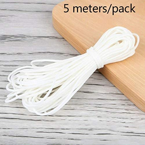 ROPALIA 3mm mask Rope Round Elastic Band DIY Material 5M 10M 20M White mask Elastic Cord