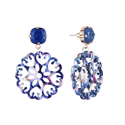 (Bohemian Resin Colorful Long Hollow Flower Earrings Dangle Drop Earring for Women Stud Ear Jewelry (Blue))