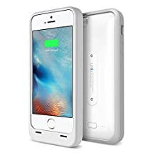 iPhone 5S Battery Case, UNU AERO Wireless iPhone 5S Case with Charging Pad [White/Grey] 1 YR Warranty -2400mAh Portable Charger, External Juice Power Bank and Charging Case[MFI Apple Certified]