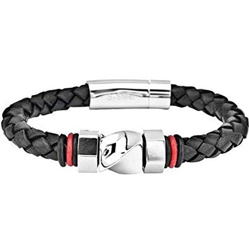 Inox Jewelry Mens Braided Black Leather Bracelet w/ 316L Stainless Steel Twist Bead