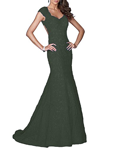 BRLMALL Women's V Neck Long Lace Wedding Party Dresses Mermaid Maxi Evening Formal Gown Cap Sleeves Black 18W