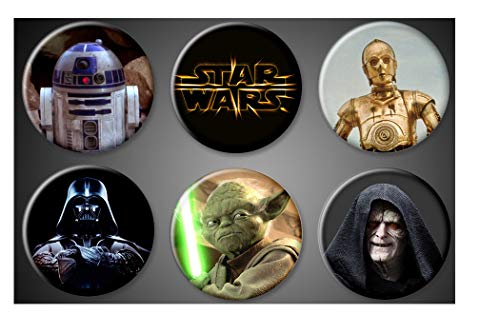 (Star Wars Original Magnets Darth Vader, Yoda, Star Wars Title, Emperor Palpatine, R2-D2, C-3PO droids Buttons Set of 6 1