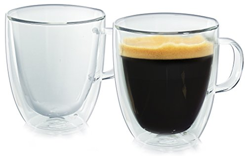 Milano Glassware - Casa Bellante Double Wall Glassware Milano Coffee Mug with Handle, 12 Ounces, Set of 2, 2-Pack