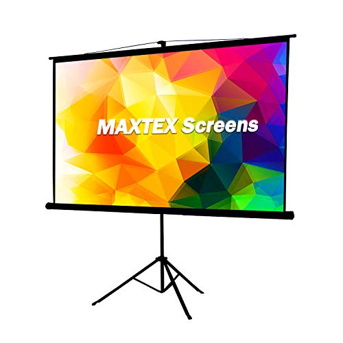 MAXTEX Projector Screen with Stand, 100 inch 4:3 Projector Screen with Tripod Stand Adjustable Projector Screen Pull Up Manual Portable Screen HD Home Office Movie, Black