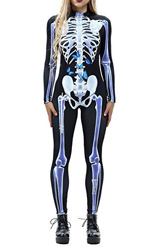 ALBIZIA Women's Skeleton Printed Halloween Costume Cosplay Jumpsuit Style-10 S/M