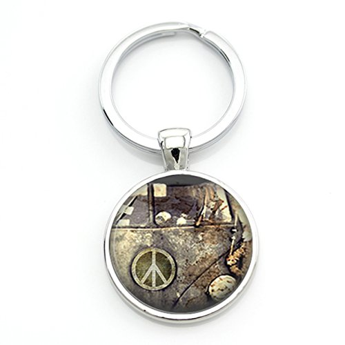 - 1 Pc Mini Pocket Vintage Hippie Peace Sign Keychain Keyring Keyfob Van Bus Pendant Keys Chains Rings Tags Strap Wrist Premium Popular Cute Wristlet Utility Keyrings Tool Women Girls Gift, Type-16