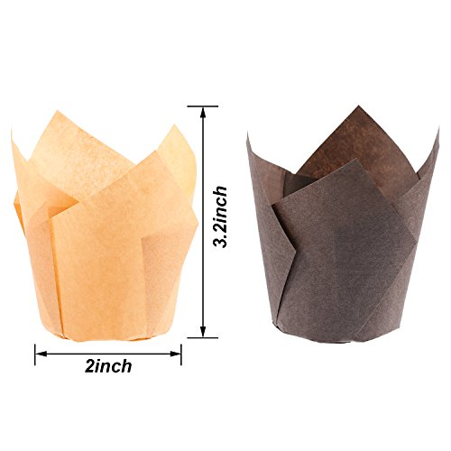 TecUnite 200 Pieces Tulip Cupcake Liner Baking Cups Paper Cupcake and Muffin Baking Cups for Weddings and Birthday, Brown and Nature Color