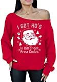 Awkward Styles I Got Hos In Different Area Codes Sexy Off The Shoulder Slouchy Oversized Sweatshirt M Red