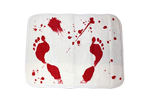 Bloody Bath Floor Mat Sheet - Red Foot Prints, Blood like Effects | Bathroom Doormat Horror for Children and Adults, 23.5 x 17