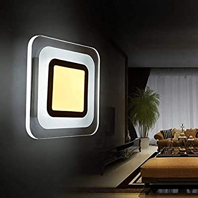 Yishelle Lámpara De Pared 9W LED Moderna Plaza de Pasillo de Escalera de la Sala luz de la Pared Interior lámpara de cabecera para Sala de Estar, Dormitorio, Pasillo, baño Decora: Amazon.es: