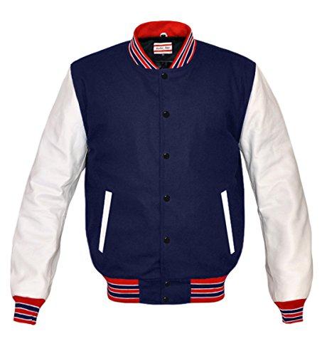 luvsecretlingerie Superb Genuine White Leather Sleeve Letterman College Varsity Men Wool (Navy Letterman Wool Jacket)