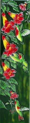 Continental Art Center MD 111 3-Hummingbird with Flowers Art Tile, 4 by (Hummingbird Tile)