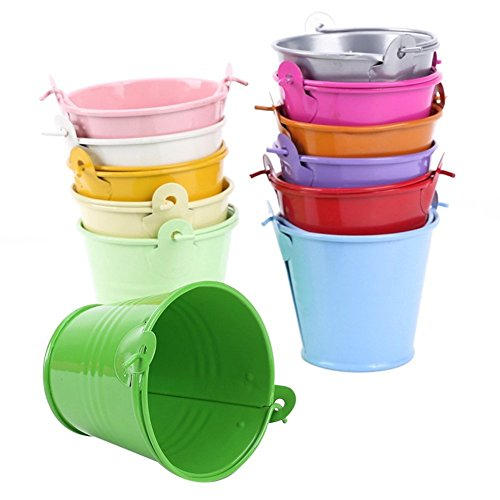 12Pcs Mini Metal Bucket Candy Box Buckets Wedding Party Souvenirs Gift Pails