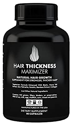 Hair Thickness Maximizer Natural Hair Growth Supplement - For Stronger, Thicker Hair. MADE IN USA. Combat Hair Loss & Thinning Hair. SAFE Vegetarian Formula Enhanced With Biotin, Horsetail Extr & More